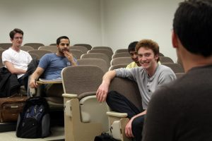 Students in a lecture hall.