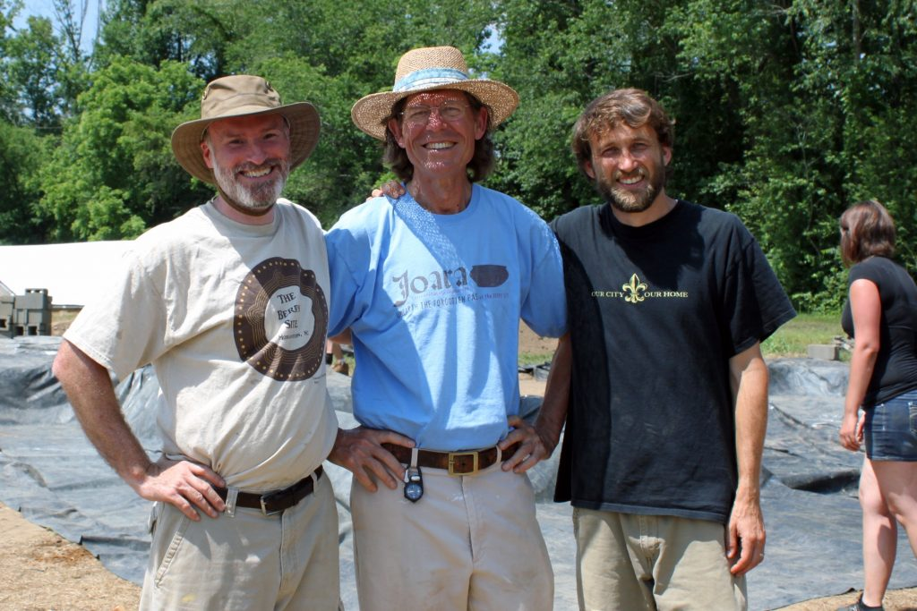 Robin Beck, David Moore and Christopher Rodning at a field site