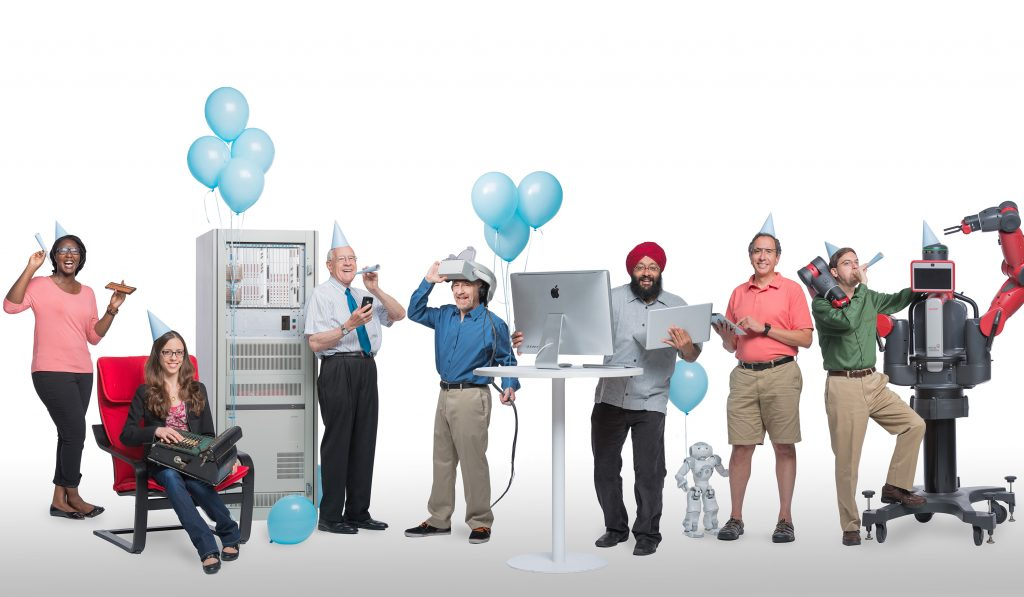 Photo illustration of computer science staff and students with robots surrounded by balloons and party hats.
