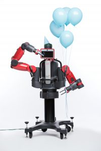 Baxter is being programmed by UNC computer scientists, led by Ron Alterovitz, to assist people with tasks at work and at home. (photo by Steve Exum)