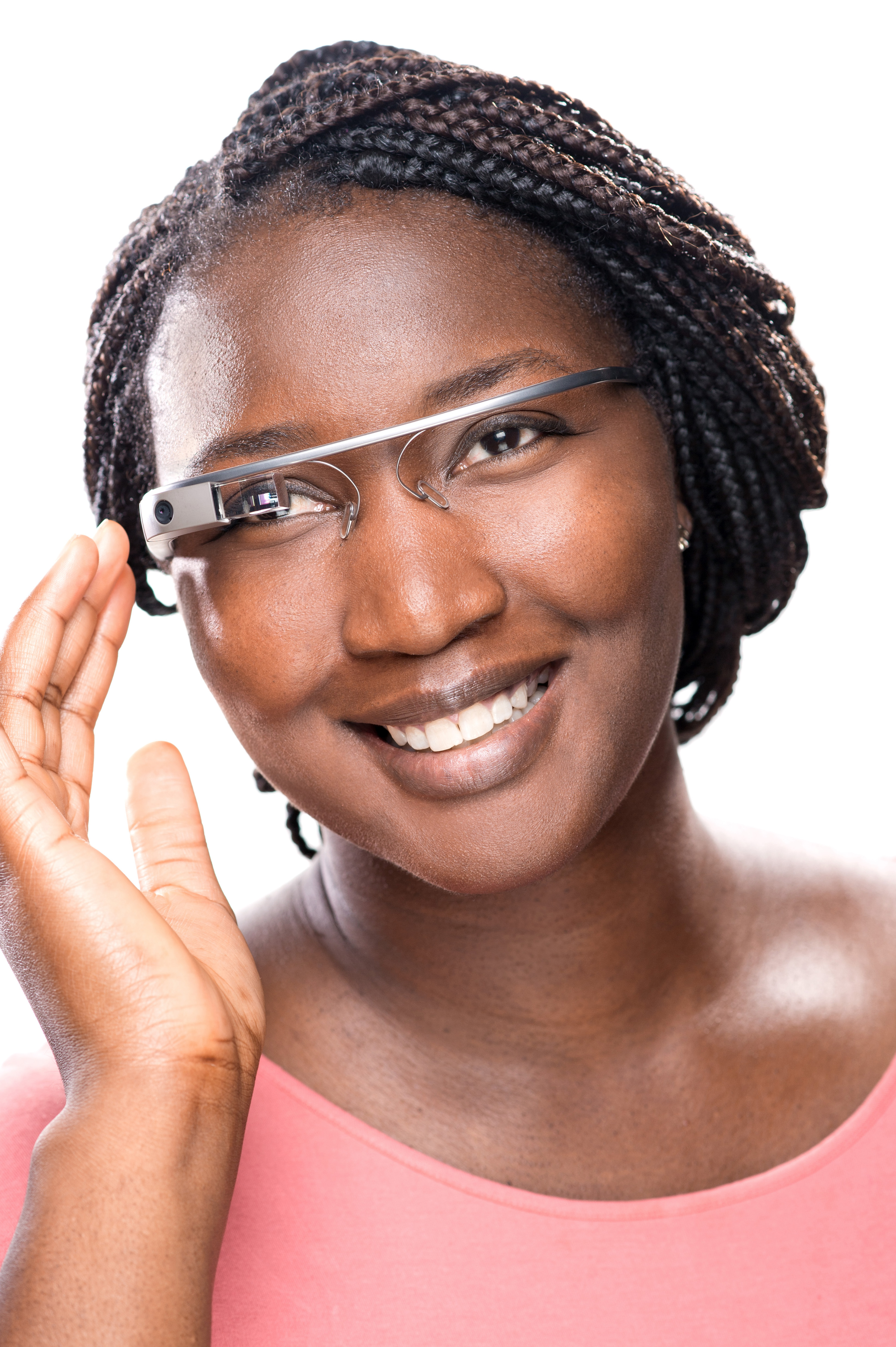 Doctoral student Femi Alabi is wearing Google Glass. As computer science celebrates its 50th anniversary, scientists are looking back over a half-century of high-tech changes. (photo by Steve Exum)