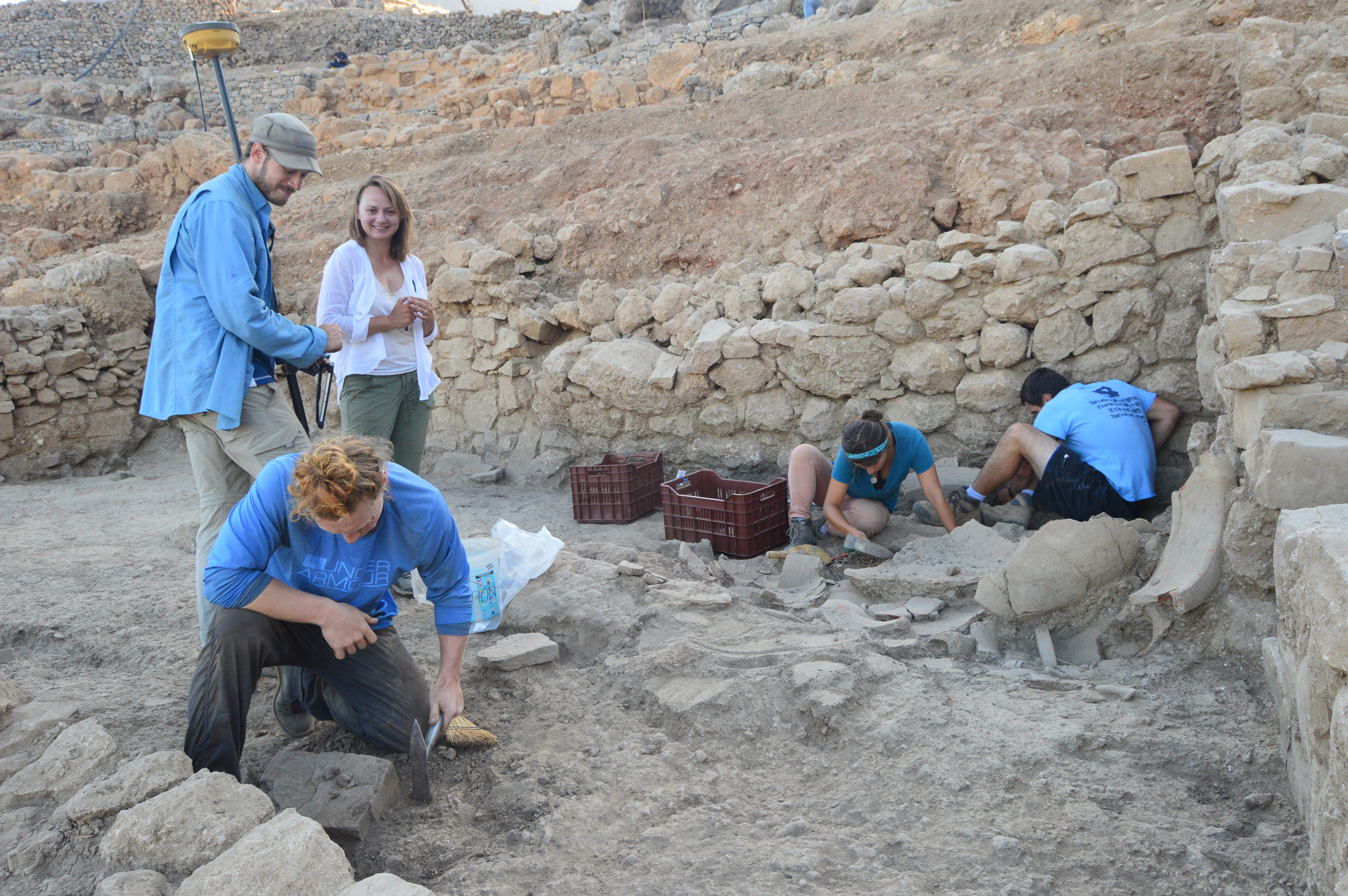 Students participate in all stages of the Azoria Project, from excavation in the field to processing plant remains, animal bones and pottery in the laboratory. (photo courtesy of Cicek Beeby)