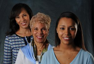 : Edith Hubbard (center) is surrounded by her daughter, Rhonda Hubbard Beatty (left), and granddaughter, Nicole Beatty, all graduates of UNC-Chapel Hill. (photo courtesy of UNC Communications)