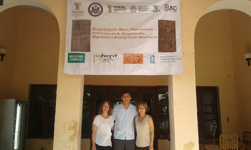 From left, Gabrielle Vail, Bryan Giemza and Patricia McAnany at the State Archives of Yucatan. (photo courtesy of Gabrielle Vail)