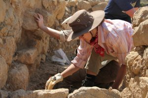 UNC student Anna Dallara (classics '17) excavates in the Protoarchaic Building (7th c. B.C.)