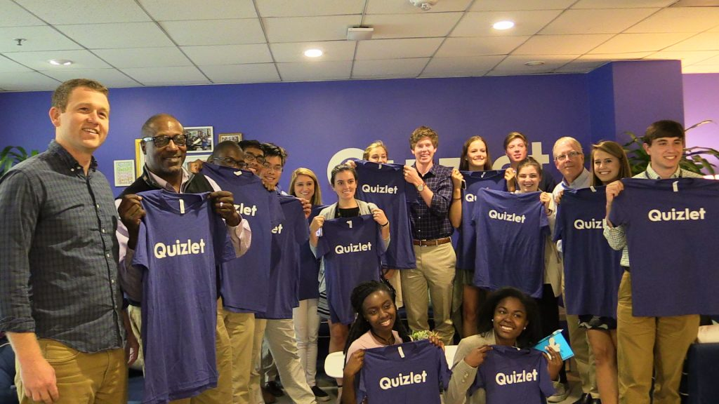 Carolina graduate Thompson Paine (far left) made sure all of the Silicon Valley Maymester students received T-shirts when they visited Quizlet, where he is the vice president for operations and business development.