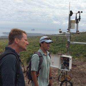 Dean Kevin Guskiewicz with geography professor Diego Riveros-Iregui in the Galápagos.