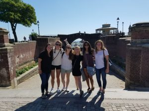 As part of UNC's Science in Scandinavia Program, Shruti Patel (second from right) and her classmates spent time in Helsingborg, Sweden, walking by the water.