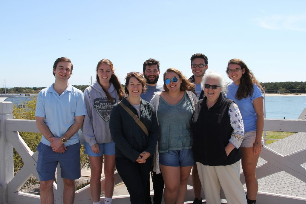 "Willis (front row, far right) poses with students from her ""Global Impacts on American Waters"" class atop the Maritime Museum in Beaufort, N.C."