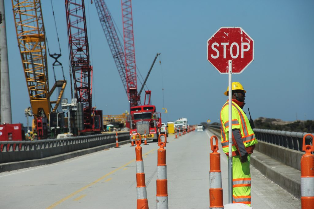 The Herbert C. Bonner Bridge connects Ocracoke and Hatteras islands to the Northern Outer Banks. The bridge is in the middle of a major replacement project after decades of severe weather, heavy traffic and beach erosion have taken their toll. (photo by Alyssa LaFaro)