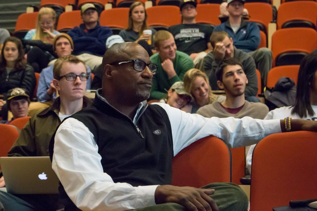 "Bernard Bell watches student presentations in ""Principles and Practice,"" a course that focuses on core entrepreneurial skills including innovation, creative design, customer development and team dynamics."