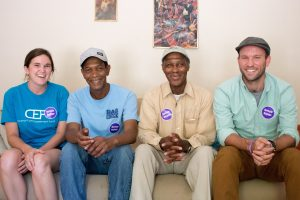 From left, Maggie West, Mike Alston, Julius Alston and Hudson Vaughan in the Alston brothers' home. The Community Empowerment Fund and the Jackson Center worked together to help the brothers settle into a duplex in the Northside neighborhood.