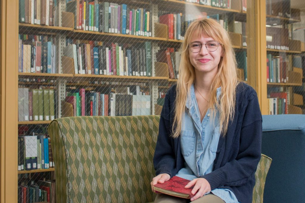 Evana Bodiker in the Music Library Glass Room in Wilson Library.