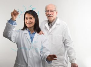 Bo Li is one of Carolina chemistry's rising young stars. Behind her is Royce Murray, who has been with the department for nearly six decades and for whom Murray Hall is named. (phot