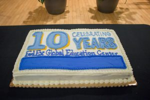 """The FedEx Global Education Center is a vibrant hub for many of the College's and University's global programs. (photo by Kristen Chavez). Pictured is a cake that says """"Celebrate 10 Years: FedEx Global Education Center."""""""