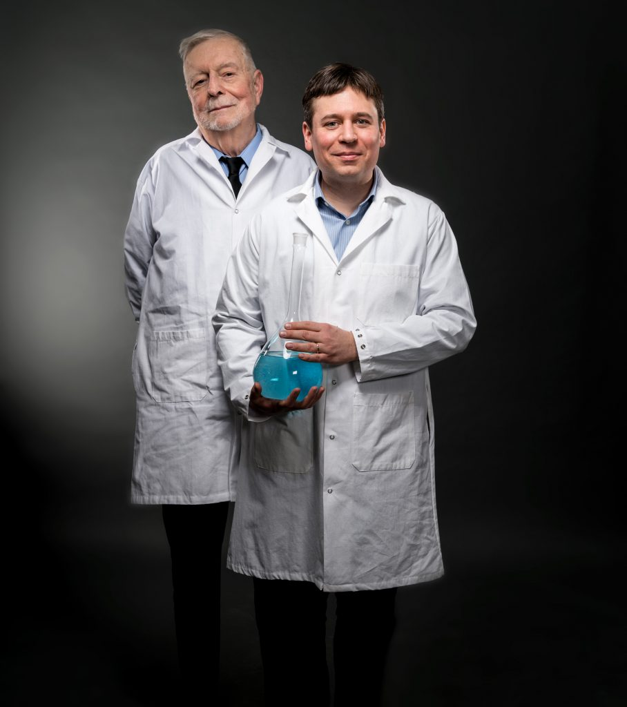 Maurice Bursey (left) and James Cahoon. Bursey taught at Carolina for 30 years before retiring in 1996. Cahoon came to UNC in 2011 to further his work on novel semiconductor nanowires and nanomaterials. (photo by Steve Exum)