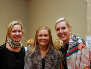 "Kate Caldwell Nevin (left) with Mary Lawson Burrows '20 and Molly McNairy at a reception for the Ackland Art Museum exhibition, ""Becoming a Woman in the Age of Enlightenment."" (photo by SP Murray)"