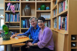 """Bill and Marcie Ferris, in the kitchen of their Chapel Hill home, will retire at the end of the spring semester, but Bill promises """"we'll continue our support for students and for UNC."""" (photo by Donn Young)"""