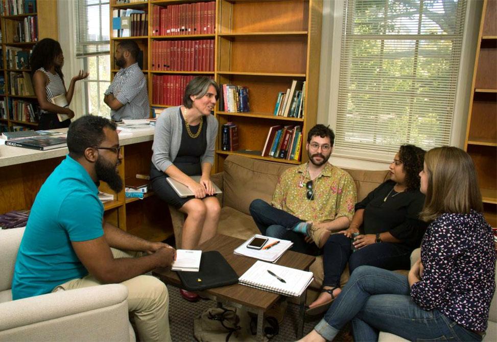 Noreen McDonald talks with students.