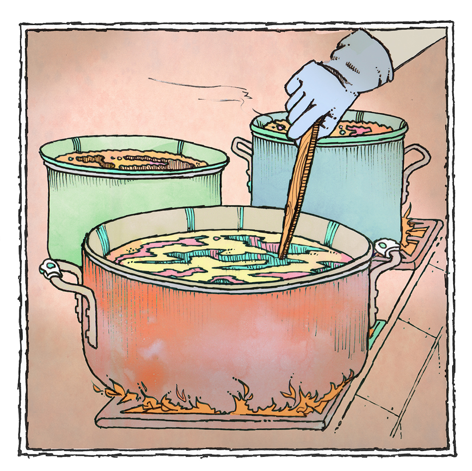 Illustration of cooking pots with hand stirring a spoon by John Roman.