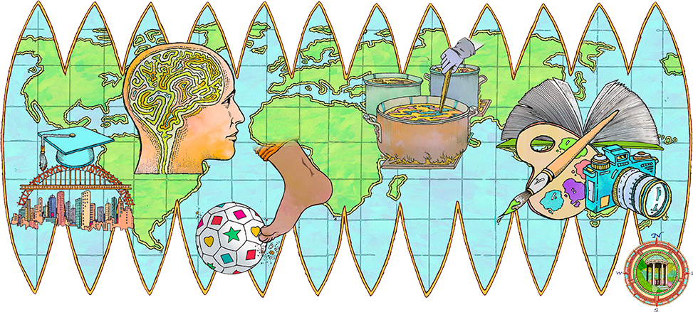 Terrestrial stretched out illustration map shows five graphical images representing stories in the cover package: a bridge, a brain, a soccer ball, a cooking pot, a camera and artist's palette and a little mini compass with Old Well at center. (illustration by John Roman)