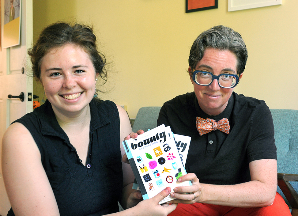 Marina Greenfeld (left) and Gabrielle Calvocoressi pored over issues of Southern Cultures to select 16 poems for a celebratory chapbook. (photo by Donn Young)