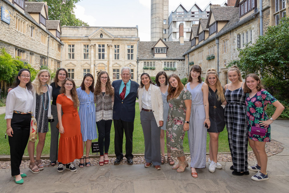 Armitage with the 2019 study abroad group at St. Edmund Hall.