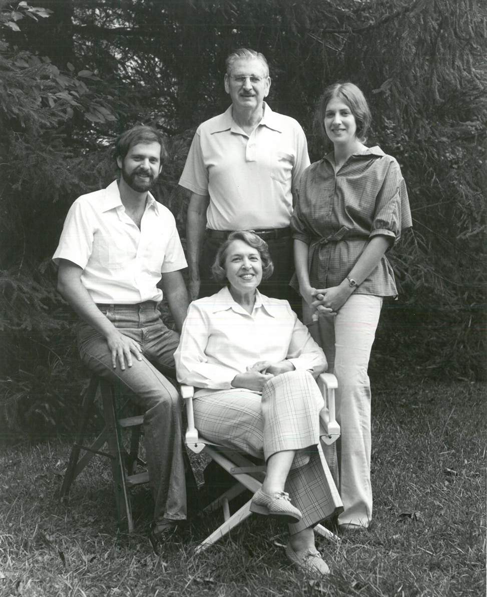 A 1979 family photo: Barry, Sidney, Jan and Mary (seated) Schochet.