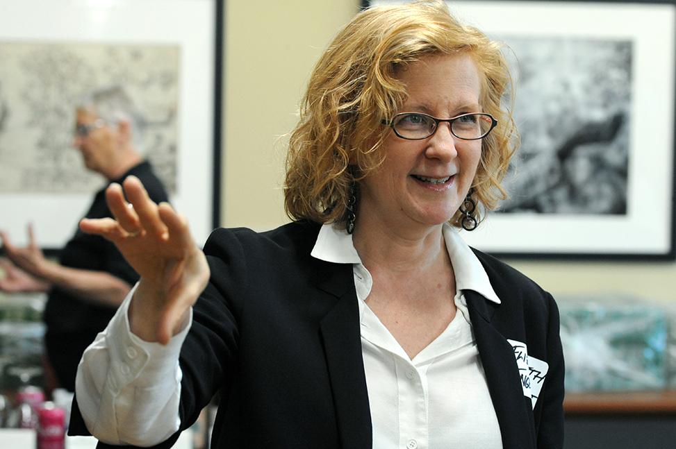 Elizabeth Engelhardt gestures as she teaches a class on Southern studies.