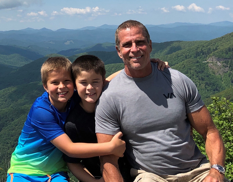 Jim Winston with his children Aiden and Hunter in the mountains of western North Carolina.