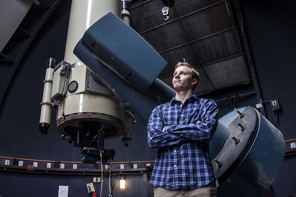Ben Kaiser standing in the Morehead Observatory
