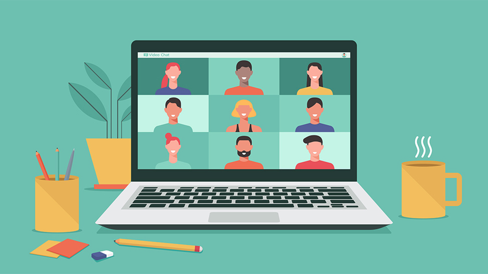 Illustration of a video chat on a laptop.