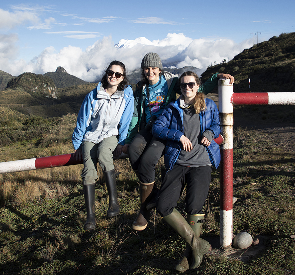 Tessa Davis, Kriddie Whitmore and Liz Farquhar sit on a pole with a volcano in the background.